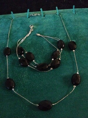 Sterling Silver and Faceted Onyx Stone Bracelet and Necklace Set~NEW