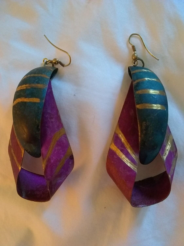 """""""NEW"""" Vintage Metal Earrings Art Deco Style"""