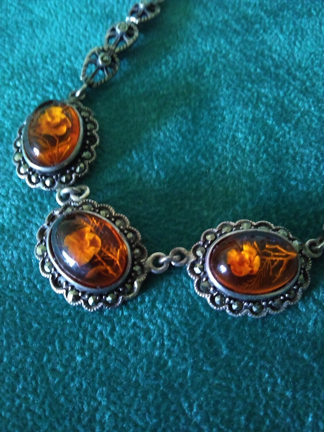 Sterling Silver and Marcasite Genuine Amber Necklace Cut Flower Design