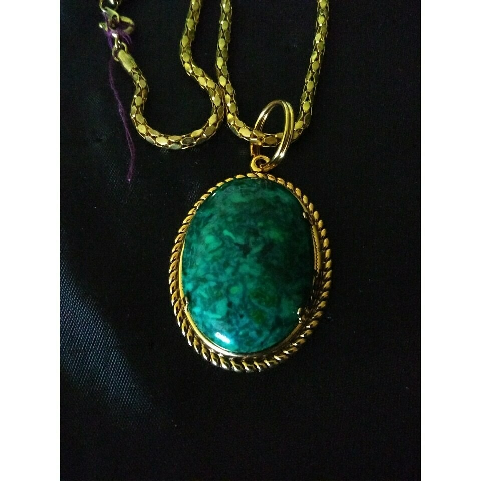 """""""NEW"""" Vintage Gold Tone NECKLACE With Removeable Green Stone 24"""""""