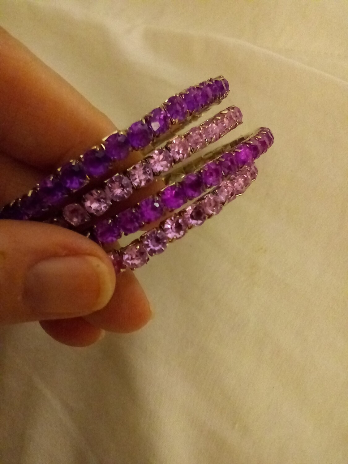 """NEW"" Vintage Rhinestones Bracelets (4) Cuffs Purple and Pink"