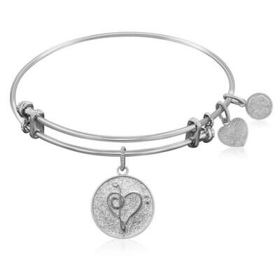 Expandable Bangle in White Tone Brass with Music Feel The Beat Symbol