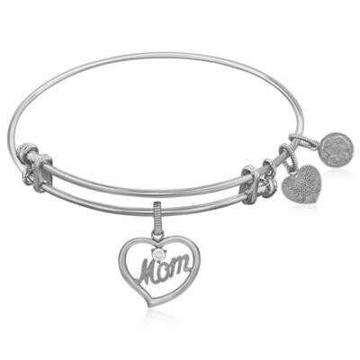 Expandable White Tone Brass Bangle with Mom In Heart Symbol