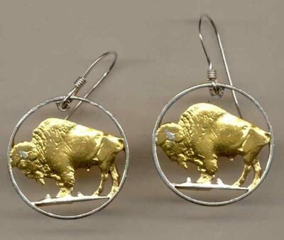 Beautifully Cut out & 2-toned U.S. Buffalo nickel - coin Earrings