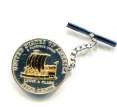 2-Toned Gold on Silver New Keel boat - nickel Coin - Tie or Hat tack