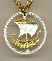 24K Gold on Silver 5 mils Cyprus Viking ship coin Necklace