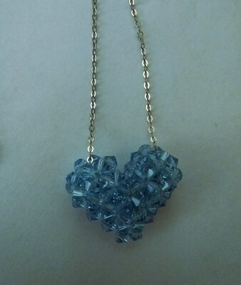 Wovan Blue Austrian Crystals Into a Heart on a 925 Sterling Silver Box Chain