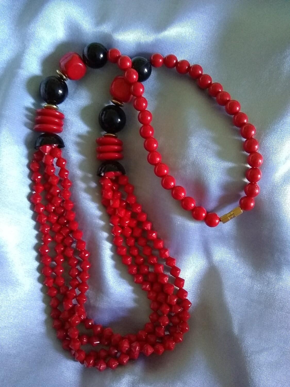 """Vintage 24"""" Park Lane Red and Black Necklace"""