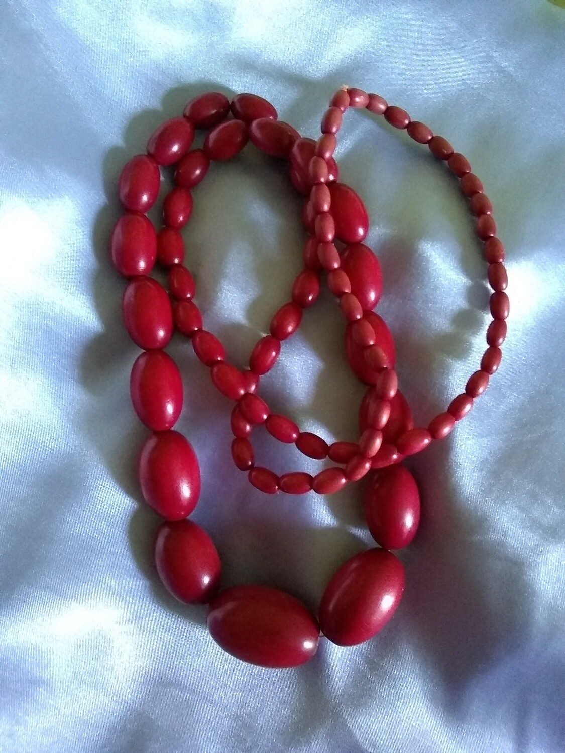 Vintage Park Lane Red Wood Bead Necklace 33""