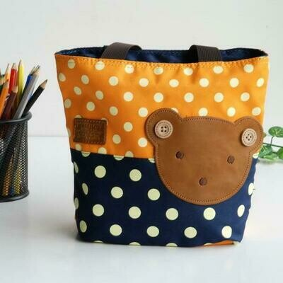 Bear-Orange  Applique Kids Fabric Art Mini Shopper Bag/Tote Bag