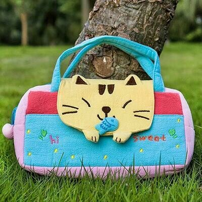 Sweet Cat Embroidered  Kids Mini Handbag / cosmetic / Travel Wallet