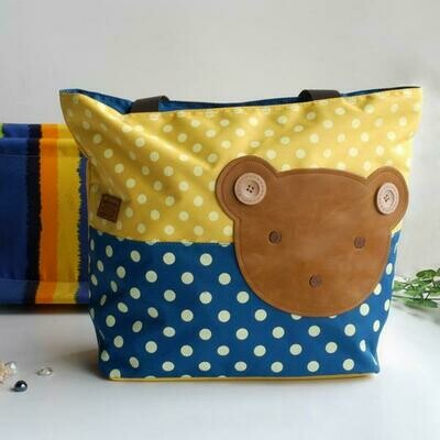 Bear-Yellow Applique Kids Tote Shopper Big Size