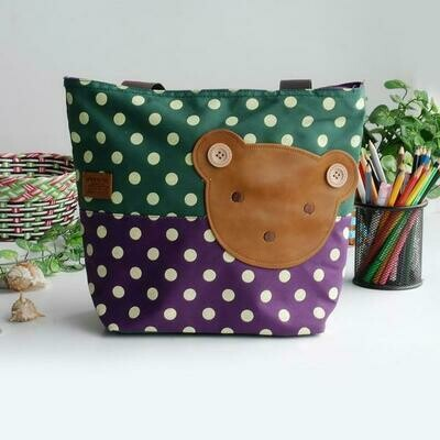 Bear-Green Applique Kids Fabric Art Tote Bag Shopper Middle size