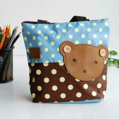 Bear-SkyBlue Applique Kids Tote Shopper Big Size