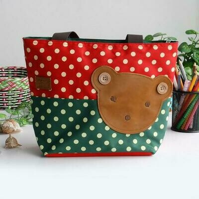 Bear-Crimson Applique Kids Fabric Art Tote Bag Shopper Middle size