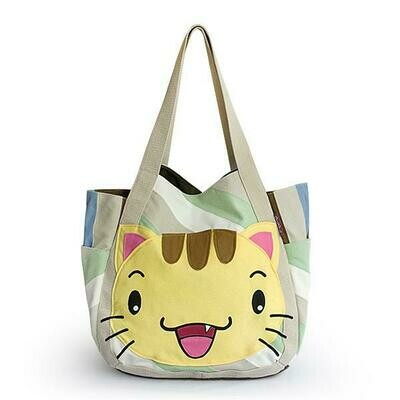 Kitty Meow Hand-appliqued 100% Cotton Fabric Art Shoulder Tote