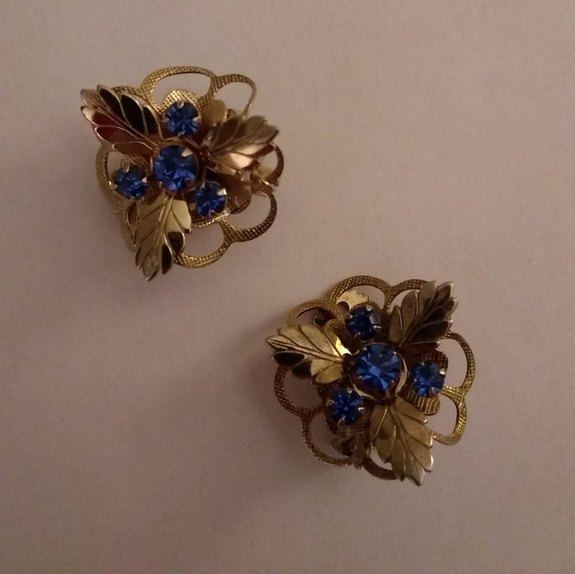 Vintage Fashion Jewelry Clip Earrings with Blue Stones
