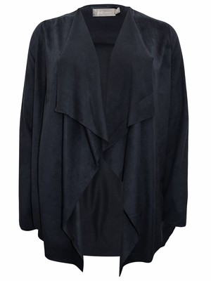 Charcoal Open Front Suedette Waterfall Jacket