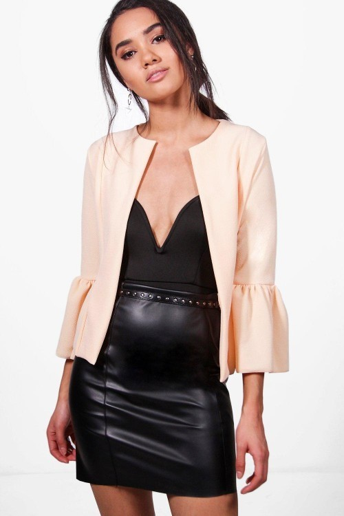 Ruffle hem collarless jacket - NUDE