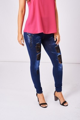 Black Lace Insert Blue Ripped Jeggings