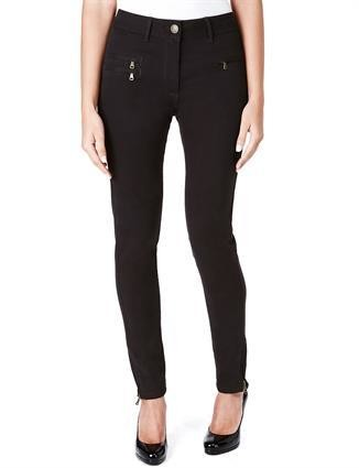 Blue Black Corduroy Zip Detail Jeggings