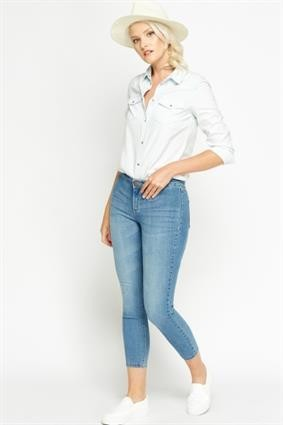 Cropped Slim Leg Jeans Light Blue
