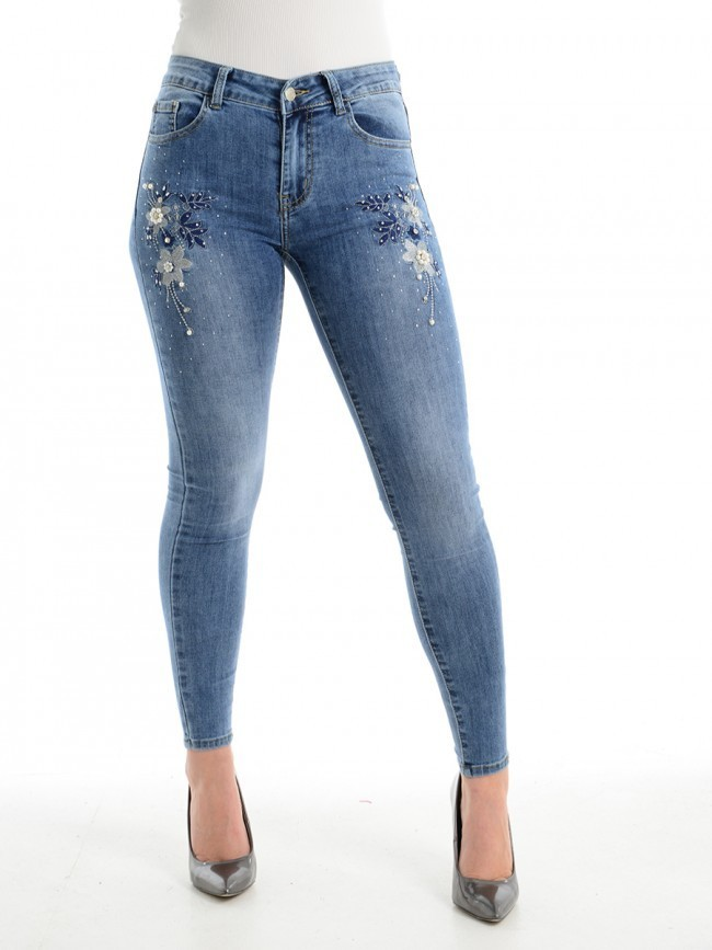 Embellished Embroidered Skinny Jean