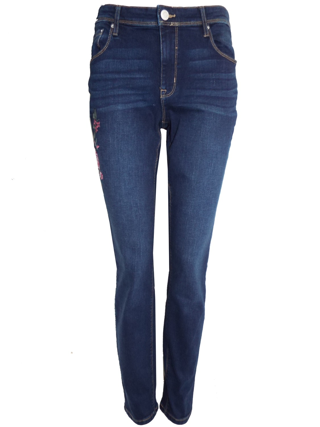 Embroidered Slim Leg Jeans by R Jeans by Gloria Vanderbuilt