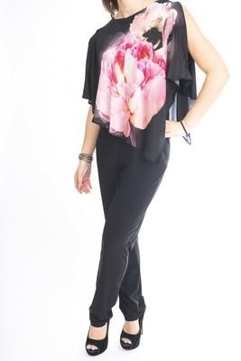 Floral Overlay Sleeveless Jumpsuit