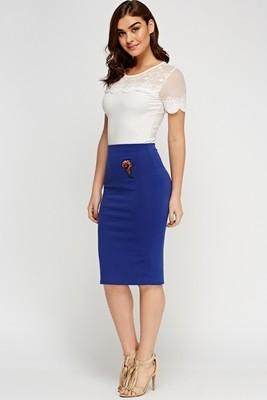 Applique Flower Pencil Skirt Blue