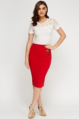 Applique Flower Pencil Skirt Red