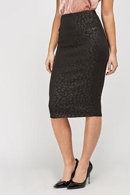 Black Embossed Midi Skirt