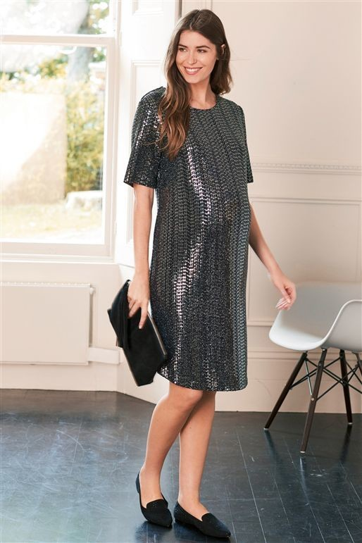 Next Silver Maternity Sequin Dress