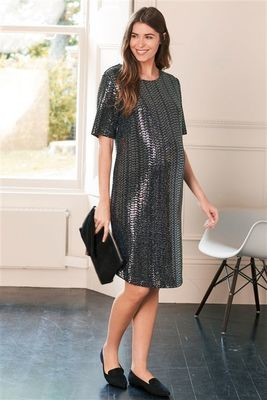 Next Silver Maternity Sequin Dress