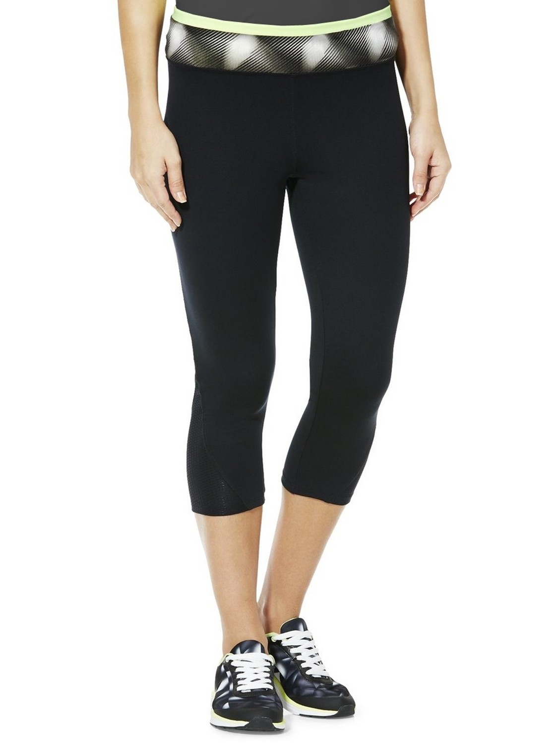 Black Contrast Waist Cropped Leggings