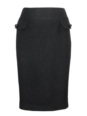 Black New Wool Blend Textured Pencil Skirt