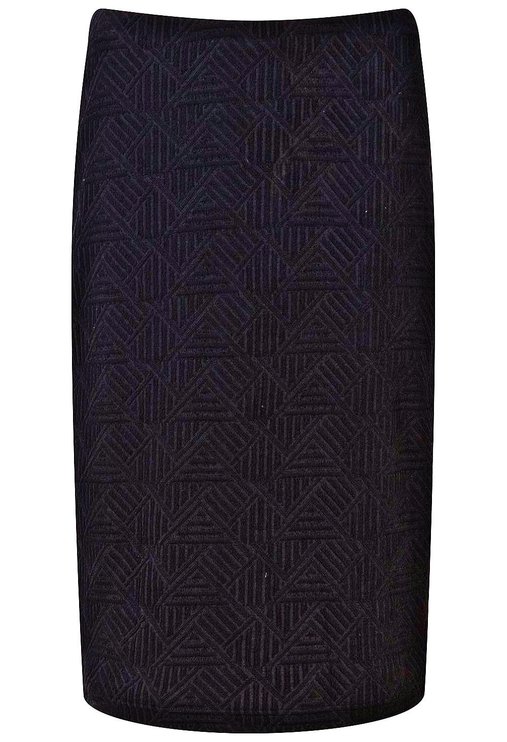 BLACK Pull On Textured Pencil Skirt