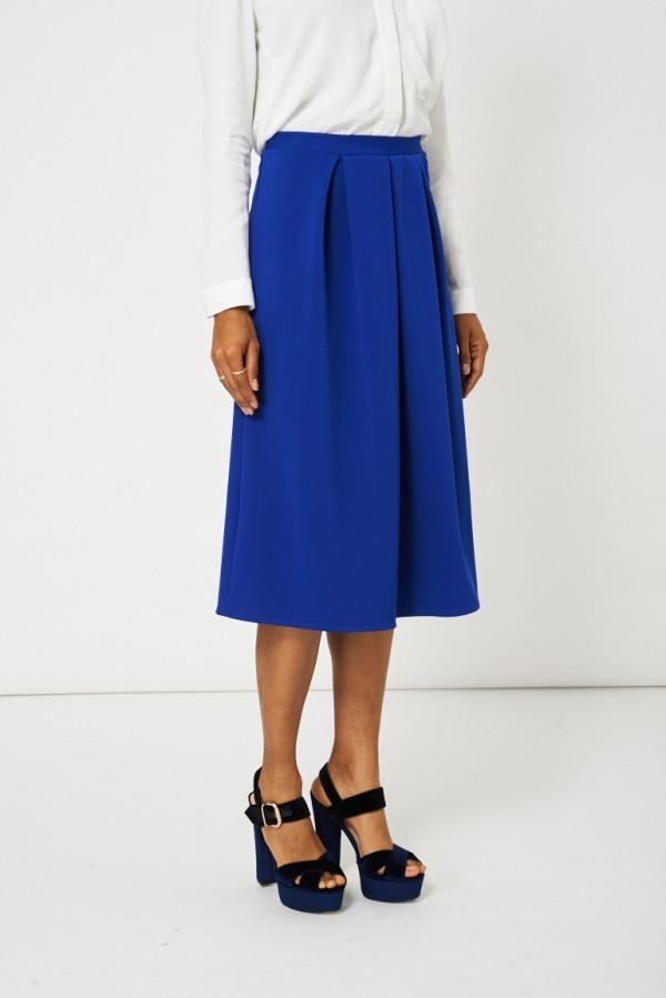 Blue Full Midi Scuba Skirt