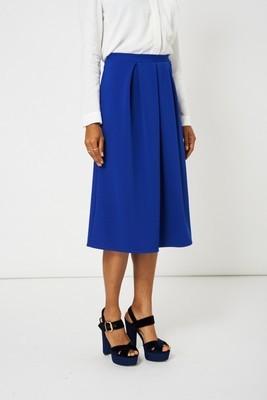 Blue Full Midi Scuba Skirt