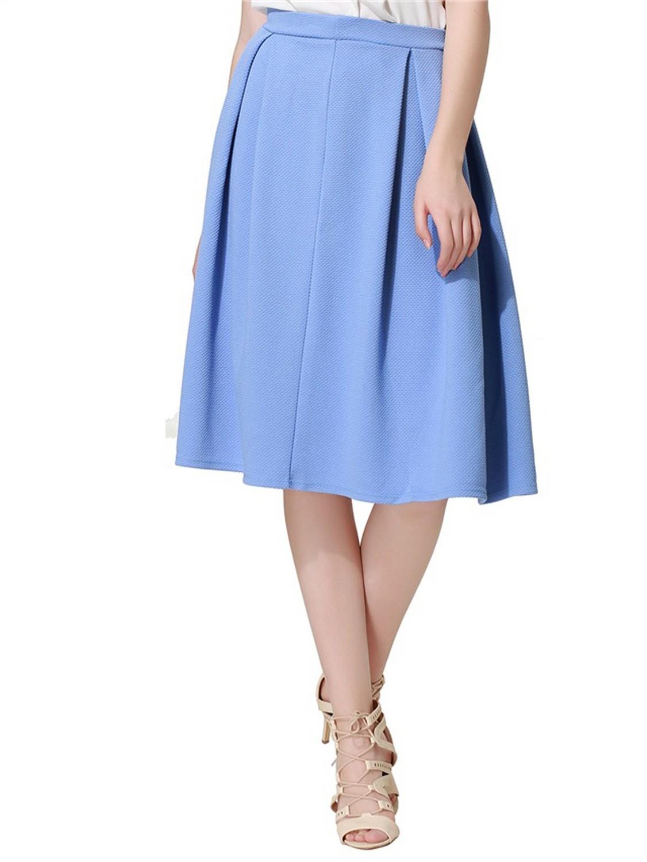 Blue Pleated Midi Skirt by MIss Selfridge