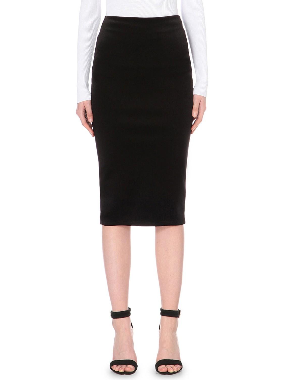 Bonded Velvet Pencil Skirt by Warehouse