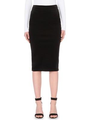 Bonded Velvet Pencil Skirt