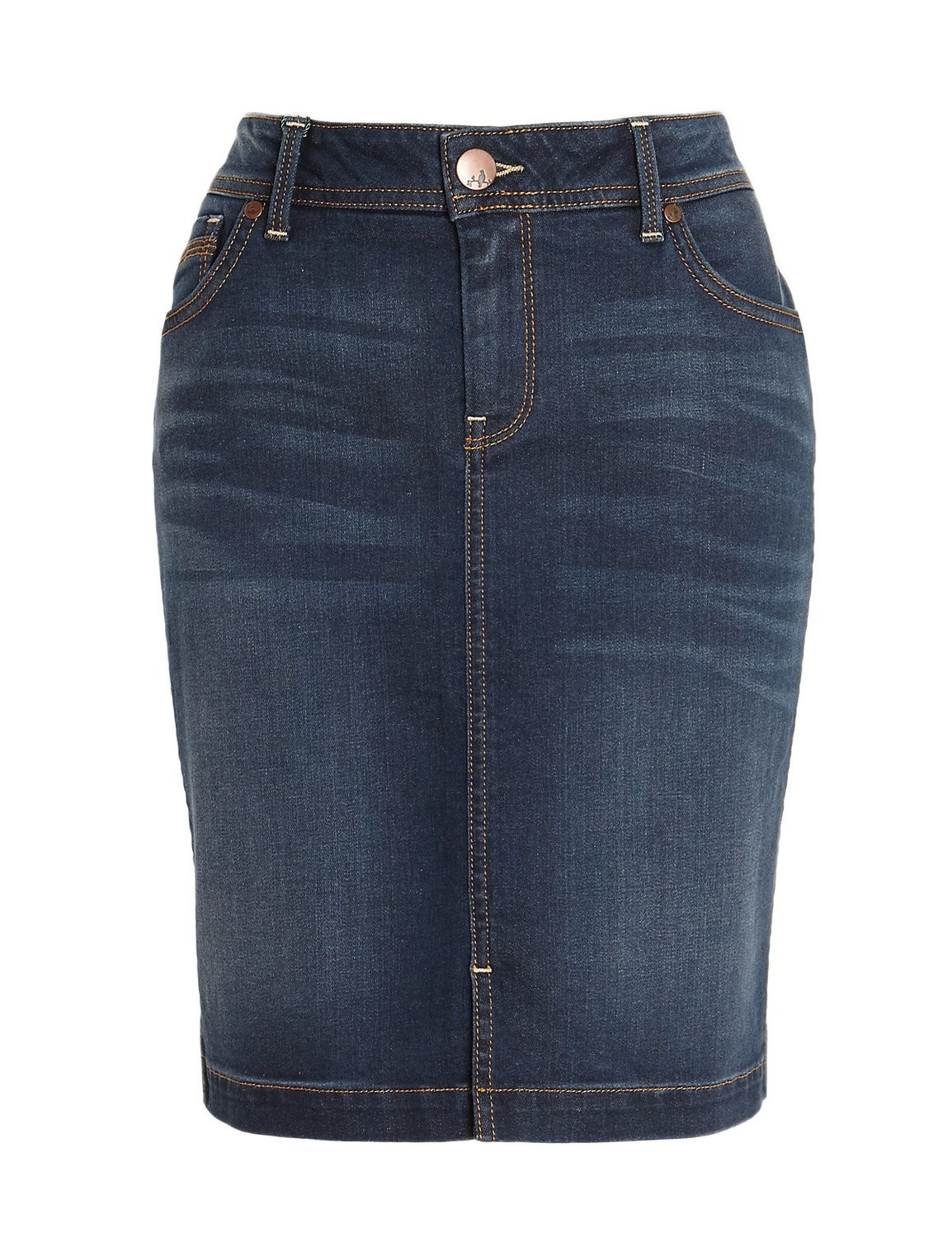Cotton Rich Washed Look Denim Mini Skirt by M&S