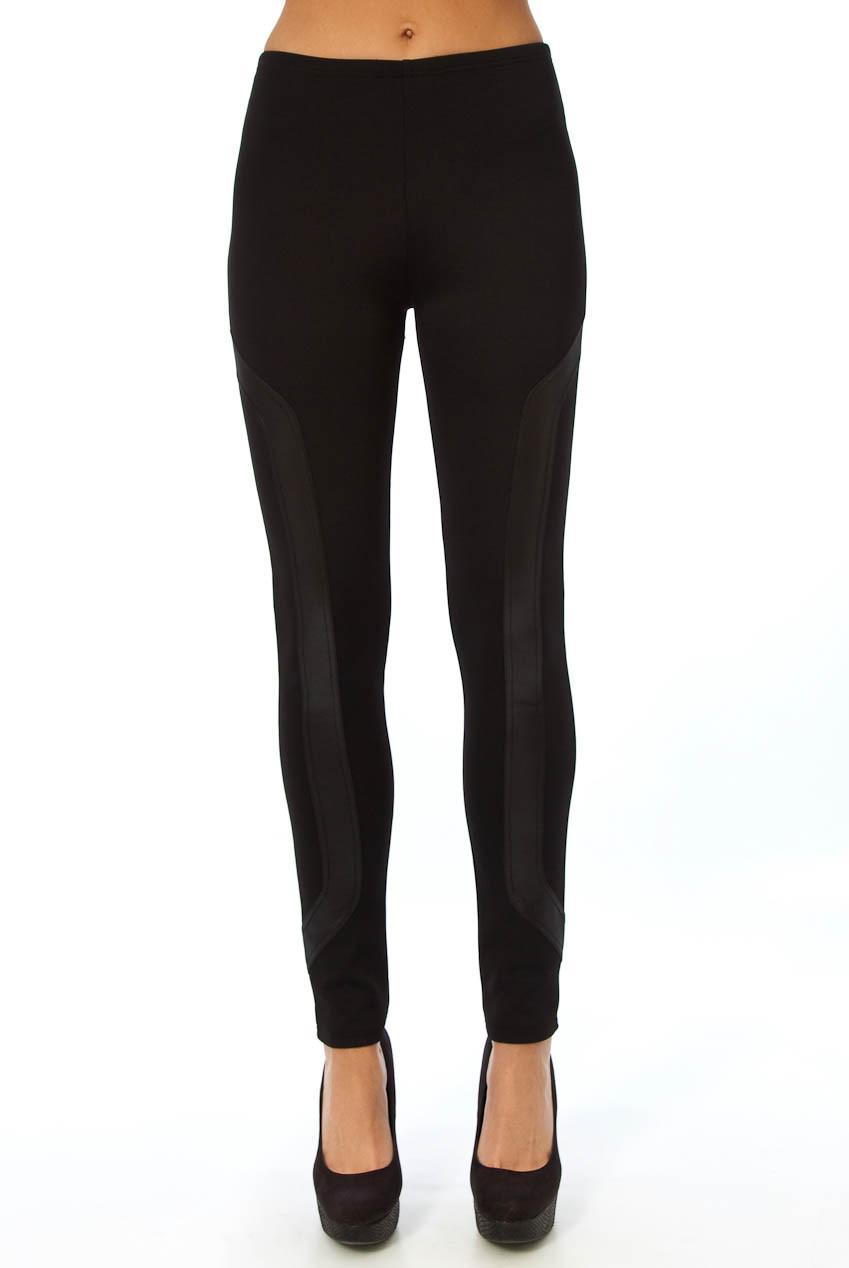 Black Faux Leather Wet Look Side Detail Leggings