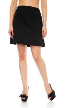 Flapped textured skirt black