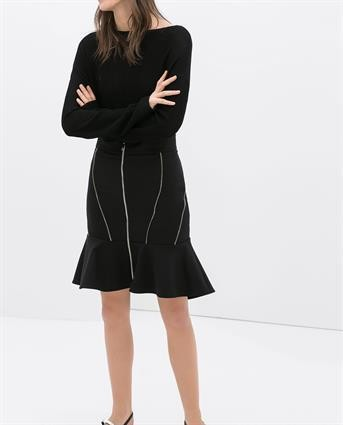 Flounced skirts with zips Zara
