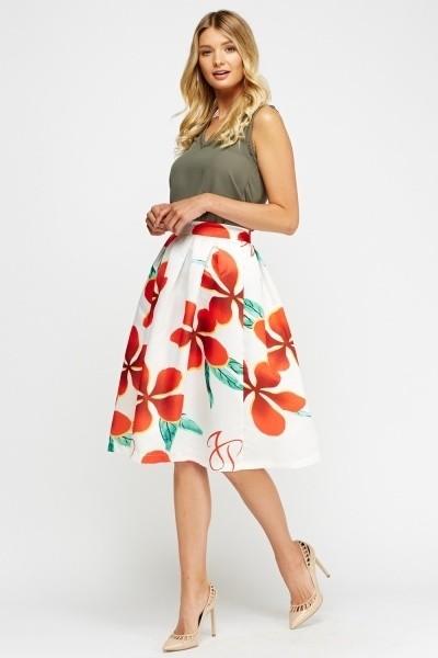 Flower Print Sateen Skater Skirt