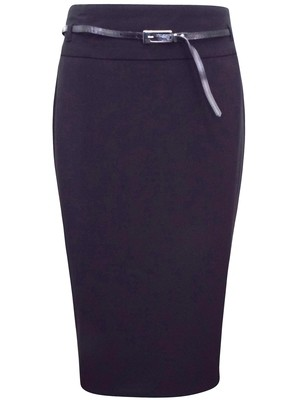 Pencil Skirt With Belt by Long Tall Sally