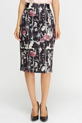 Printed Pencil Midi Skirt