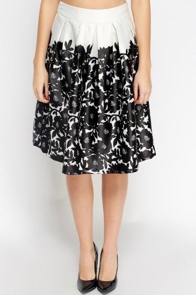 Silky Flower Midi Skirt